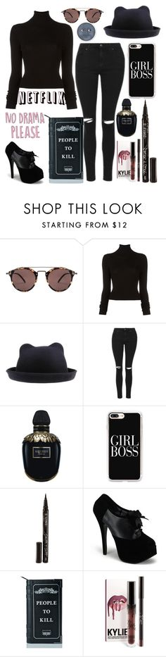 """No drama, please."" by unicornpotter ❤ liked on Polyvore featuring Oliver Peoples, BLK DNM, Topshop, Alexander McQueen, Casetify, Smith & Cult and Killstar"