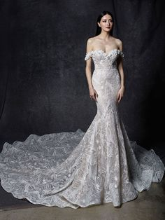 Shop our chic Enzoani Couture Wedding Dress and Bridal Gown Collection at Bridal Reflections. Contact us to schedule your private bridal appointment. Big Wedding Dresses, Wedding Dress Pictures, Elegant Wedding Dress, Designer Wedding Dresses, Lace Wedding, Bridal Reflections, Cinderella Dresses, Dress Out, Dress Lace