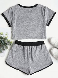 Contrasting Binding Crop Top Shorts Tracksuit - Gray S Cute Lazy Outfits, Sporty Outfits, Mode Outfits, Stylish Outfits, Girls Fashion Clothes, Teen Fashion Outfits, Outfits For Teens, Teenage Outfits, Crop Top And Shorts