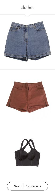 """""""clothes"""" by xo-ashlyn-ox ❤ liked on Polyvore featuring shorts, bottoms, pants, denim, zipper shorts, 5 pocket shorts, vintage shorts, button shorts, ann taylor and short"""