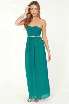 Best Pleat in the House Strapless Teal Maxi Dress Get 7% Cash Back http://www.studentrate.com/itp/get-itp-student-deals/lulu-s-Student-Discount--/0