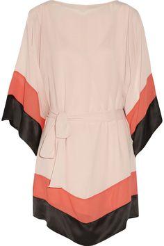 Shop Halston Heritage Satin-trimmed Color-block Chiffon Mini Dress from stores. Pink Chiffon Dress, Pink Dress, Short Fitted Dress, Short Dresses, Halston Heritage, Discount Designer Clothes, Satin, Colorblock Dress, Little Dresses