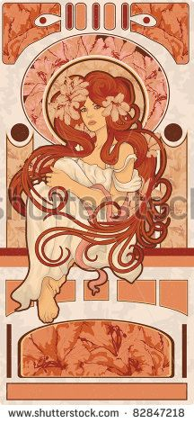 Art Nouveau styled woman with long detailed flowing hair art design