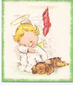 C31 Vintage Unused Christmas Greeting Card by Stanley Angel with Cocker Spaniel