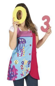 Bata corta para maestras NÚMEROS MARINOS Teacher Apron, Diy Home Crafts, Kids And Parenting, Jumper, Sewing, Tank Tops, Crochet, Blouse, Womens Fashion