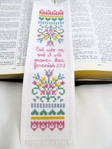 Completed Finished Cross Stitch Bookmark Handmade Christian Gift Jeremiah 33:3