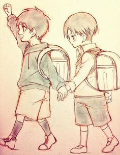 Attack on Titan ~~ If they were reincarnated into our world, Eren would be the outgoing one and Levi would be the shy boy he choose to protect.