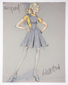 Edith Head sketch for Airport (1970) Some of her later work. Note the paper hue and ski tone relationship.