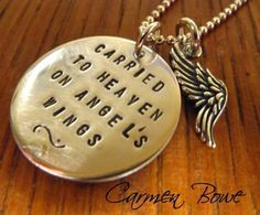 Carried to Heaven Sterling Angel Wing Necklace by Carmen Bowe I Tattoo, Angle Tattoo, Necklace Tattoo, Angel Wing Necklace, Memorial Tattoos, Future Tattoos, Angel Wings, Tattoo Inspiration, Handcrafted Jewelry