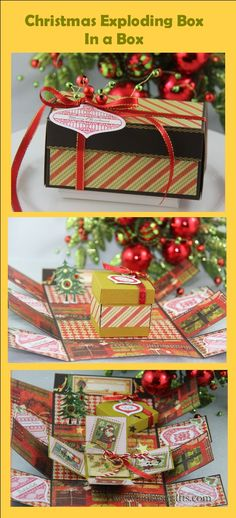 These are great as a giveaways for your holiday parties.   Explosion Box In A Box - 3rd Day of Christmas http://jinkyscrafts.blogspot.com/2012/10/christmas-explosion-box-in-box.html#