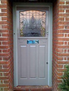 New glass front door makeover beautiful ideas Oak Front Door, Grey Front Doors, House Front Door, Front Door Colors, Glass Front Door, Sliding Glass Door, Porch Doors, Entrance Doors, Windows And Doors