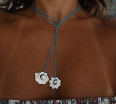 Conch Seashell Multi-use Turquoise String Jewelry - Anklet , Bracelet and Necklace