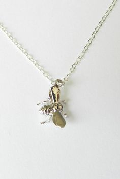 Itty Bitty Bumble Bee necklace with sterling silver chain