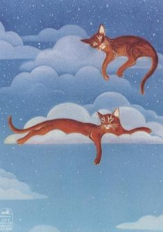 """Cloudcats"" - by EYEDEAS (Leslie Newcomer) here as a print on etsy"