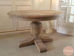 Mesa redonda de madera con tapa de zinc | Pinterest | Round dining ...