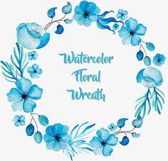Bela aquarela Azul., Vector Png, Flores Azuis, Aquarela. PNG e Vector