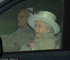 The Queen smiled as she left the service at St Mary Magdalene Church on the Sandringham es...