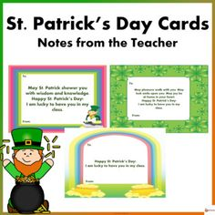 Patrick's Day Cards: Notes from the Teacher St Patricks Day Cards, Happy St Patricks Day, A4 Paper, Paper Size, School Resources, Classroom Resources, Teachers Day Card, Back To School