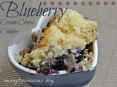 My mom makes an amazing strawberry cream cheese cobbler with this recipe. Prince Charming is goo-goo about blueberries and we just happene...