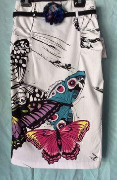 Bisou Bisou Michele Bohbolt New Pencil Skirt White Cotton Butterfly Print Size 2 #BisouBisou #PencilMidi