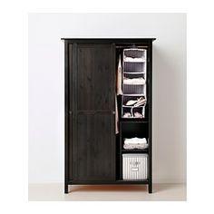 HEMNES Kleiderschrank mit 2 Schiebetüren - schwarzbraun - IKEA