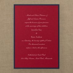 Classic Creation - Invitation - Merlot This classic creation layers merlot on midnight. Wedding invitations for any couple to have their wording printed on.