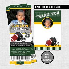 FOOTBALL TICKET INVITATIONS + FREE THANK YOU CARD (Printable Files) Birthday Party - by nowanorris on Etsy