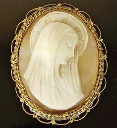 Victorian VIRGIN MARY Rolled Gold Filled Carved CAMEO Filigree Brooch Pendant #Unsigned