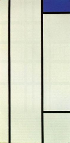 Vertical Composition with Blue and White Artist: Piet Mondrian Completion Date: 1936 Style: Neoplasticism Genre: abstract Technique: oil Material: canvas Dimensions: 121.3 x 59 cm