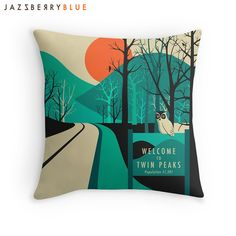 TWIN PEAKS Throw Pillow for the Home Decor by JazzberryBlue