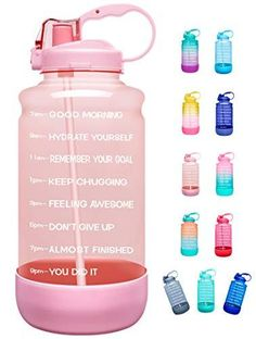Elvira Half Gallon/64oz Motivational Time Marker Water Bottle with Straw & Protective Silicone Boot, BPA Free Anti-Slip Leakproof for Fitness, Gym and Outdoor Sports 【Motivational Quote & Time Marker】-With unique inspirational quote and time marker on it, this water bottle is great for measuring your daily intake of water, reminding you stay hydrated and drink enough water throughout the day. A must have for any fitness goals including weight loss and overall health.Please push the cap b Gallon Water Bottle, Filtered Water Bottle, Water Bottle With Straw, Pink Water Bottle, Water Bottles, Portable Water Filter, Don't Give Up, Drinking Water, Green And Purple