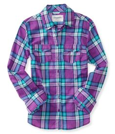 Long Sleeve Romance Plaid Woven Shirt - Aeropostale