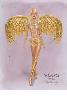 Gilded Angels drawing for the Victoria's Cindy Bruna. Illustration by Jane Kennedy www.janelkennedy.com