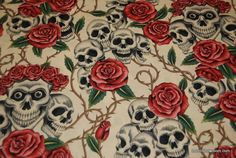 WB143 Skull Rose Cream Goth Outsider Art Grateful Dead Alexander Henry Classic Cotton Fabric Quilt Fabric