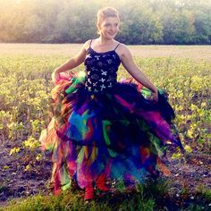 Black and Neon Galaxy Colorful Rainbow Full Length Formal Tutu by OutrageousRainbows