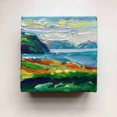 Signal Hill From Cape Spear By Irene Duma  4″ x 4″ x 1.5″ (10 cm x 10 cm x 3.81 cm) Oil on gallery wrapped canvas with painted sides.  On a clear day, you can see Cabot Tower all the way from Cape Spear. Sitting atop Signal Hill, the monument marks the spot where the narrows enter to the well-protected harbour of St. John's.  #canadianart #newfoundlandart #seascape #eastcoastliving #artforthehome #minipainting #affordableart #cuteart #startartcollecting Canadian Painters, Canadian Art, Cabot Tower, Signal Hill, On A Clear Day, Mini Paintings, Affordable Art, Newfoundland, Oil Painting On Canvas