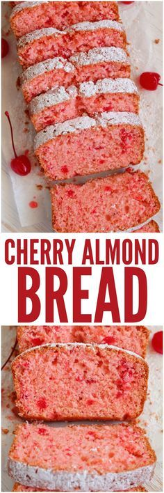 Cherry Almond Bread is so quick and easy to make and perfectly moist! The cherry… Cherry Almond Bread is so quick and easy to make and perfectly moist! The cherry almond flavor is incredible and you won't be able to get enough! Köstliche Desserts, Delicious Desserts, Dessert Recipes, Yummy Food, Jewish Desserts, Desserts Faciles, Health Desserts, Sweet Desserts, Quick Bread Recipes