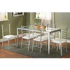 Contemporary Metal 7-Piece Dining Set, Silver: Furniture : Walmart.com - $279.00