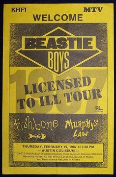 Beastie Boys - Fishbone - Murphys Law Tour Posters, Band Posters, Music Posters, Concert Posters, Hip Hop Bands, Adam Yauch, Music Film, Art Music, Music Flyer