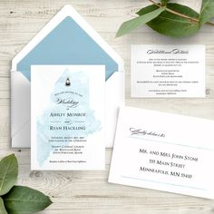 Watercolor State Wedding Invitation Sets - Destination Invitations - Marriage Ceremony Invites, Custom Personalized Lighthouse Coastal Ocean by Ivory Isle Designs Wedding Invitation Samples, Invites, Colored Envelopes, Custom Fonts, Envelope Liners, Response Cards, Favor Tags, As You Like, Lighthouse