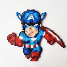 Captain America perler beads by perlerbeads_art