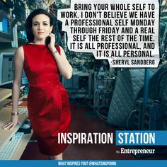 """A few months beforeSandbergtold women to """"Lean In"""" in her popular book, Facebook's chief operating officer included strong messages about gender equality in leadership positions in her 2012 commencement address to Harvard Business School graduates. She encouraged both men and women to be authentic at work.  Best advice: """"Bring your whole self to work. I don't believe we have a professional self Monday through Friday and a real self the rest of the time. It is …"""