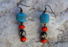 Handmade multi beaded exotic fun earrings. $15.00, via Etsy.