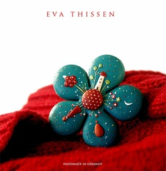 """""""Starry Night"""" hand made polymer clay brooch made to order by Eva Thissen Gallery via Flickr"""