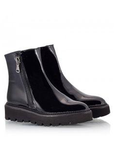 Black patent leather side-zip platform ankle boots