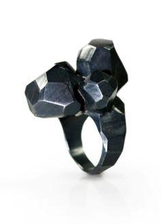 David Choi | Sienna Gallery - Ring, oxidized silver  size 5.