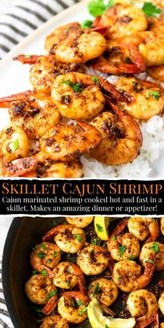 Skillet Cajun Shrimp are slightly spicy, cajun seasoned shrimp that cook hot and fast in a skillet. They make a great dinner when paired with a side dish, or an easy appetizer served with jicama sticks to cool down the spice! Easy Grilled Shrimp Recipes, Cajun Shrimp Recipes, Marinated Shrimp, Cajun Appetizers, Spicy Garlic Shrimp, Shrimp Tacos, Cilantro Lime Shrimp, Shrimp Linguine, Scampi