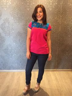 Mexican blouse top embroidered traditional muslin cinco de mayo day of the dead… Mexican Top, Mexican Blouse, Mexican Party, Pink Blue, Hot Pink, S Models, Capri Pants, Traditional, Pretty