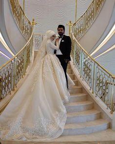 wedding makeup hijab Setr-i Nur 0850 466 19 76 Turkish Wedding Dress, Muslim Wedding Gown, Muslimah Wedding Dress, Muslim Wedding Dresses, Wedding Hijab, Pakistani Bridal Dresses, Wedding Gowns, Wedding Makeup, Bridal Hijab