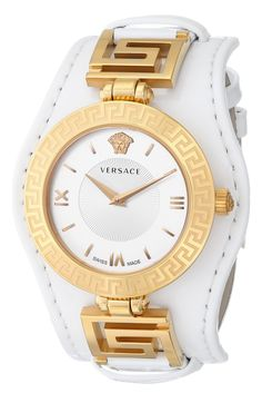 Versace Women's VLA010014 V-SIGNATURE Analog Display Swiss Quartz White Watch. Ronda 762.3 Swiss Quartz movement. Top ring with greek key engraved; crown with medusa embossed; serial number on the case back. White patent leather strap. Dial with roman indexes; versace and medusa logo at 12h. Water resistant to 165 feet (50 M): suitable for swimming and showering.
